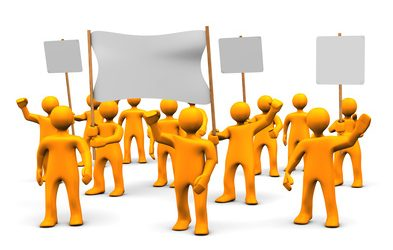 Streikposten wenn nötig auch auf dem Firmenparkplatz